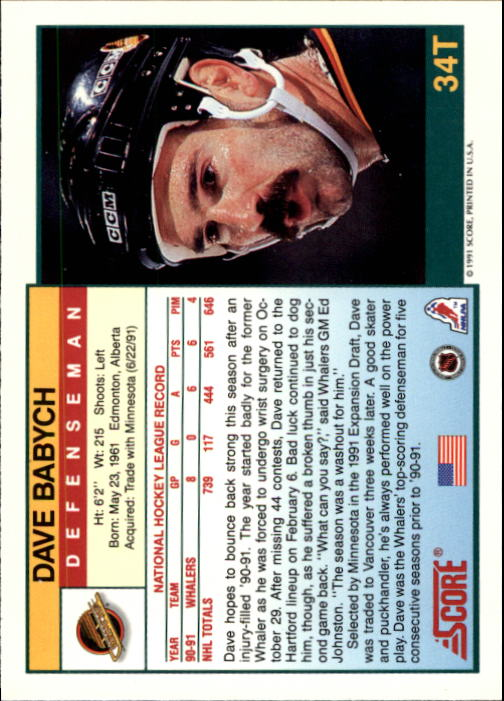 1991-92 Score Rookie Traded #34T Dave Babych back image