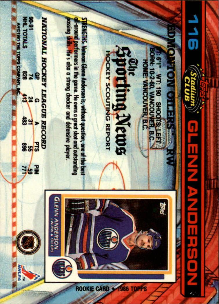 1991-92 Stadium Club #116 Glenn Anderson back image
