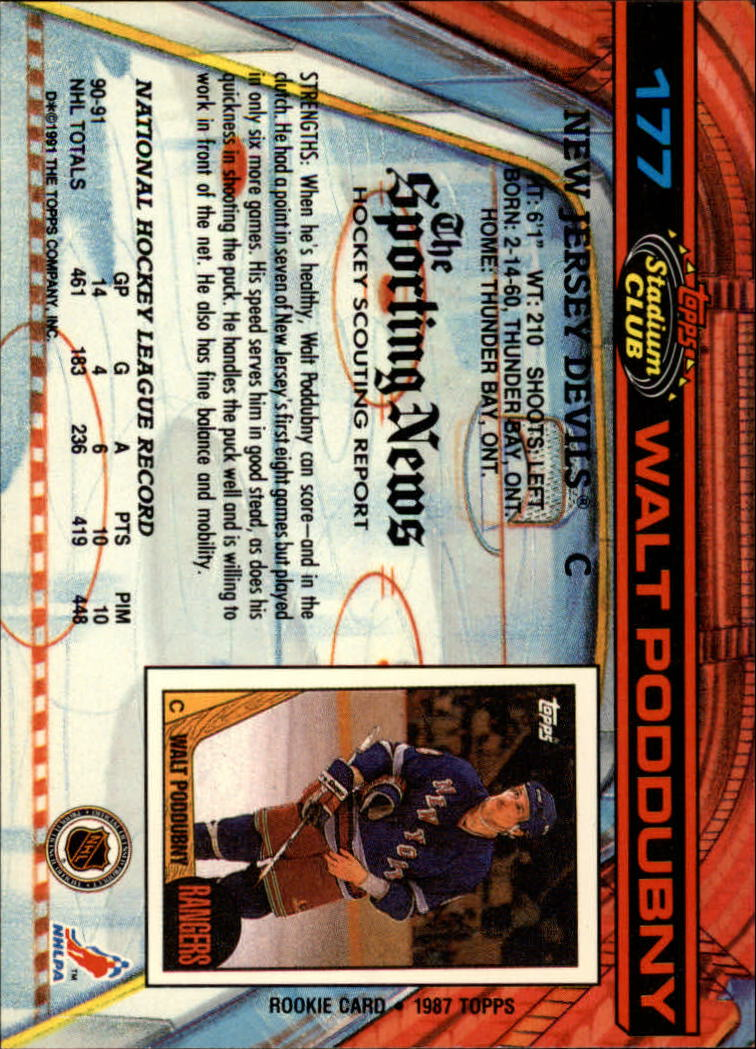 1991-92 Stadium Club #177 Walt Poddubny back image