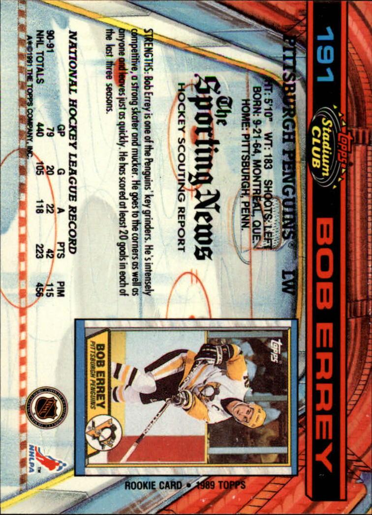 1991-92 Stadium Club #191 Bob Errey back image