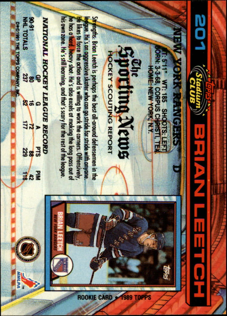 1991-92 Stadium Club #201 Brian Leetch back image