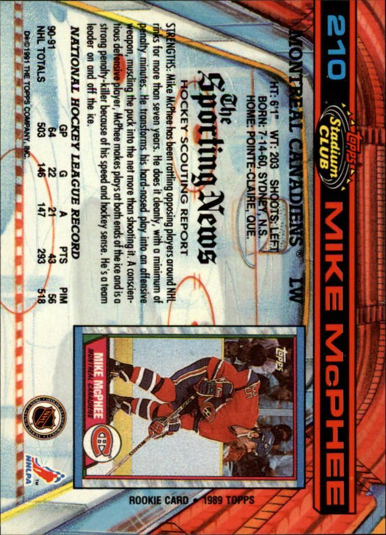 1991-92 Stadium Club #210 Mike McPhee back image