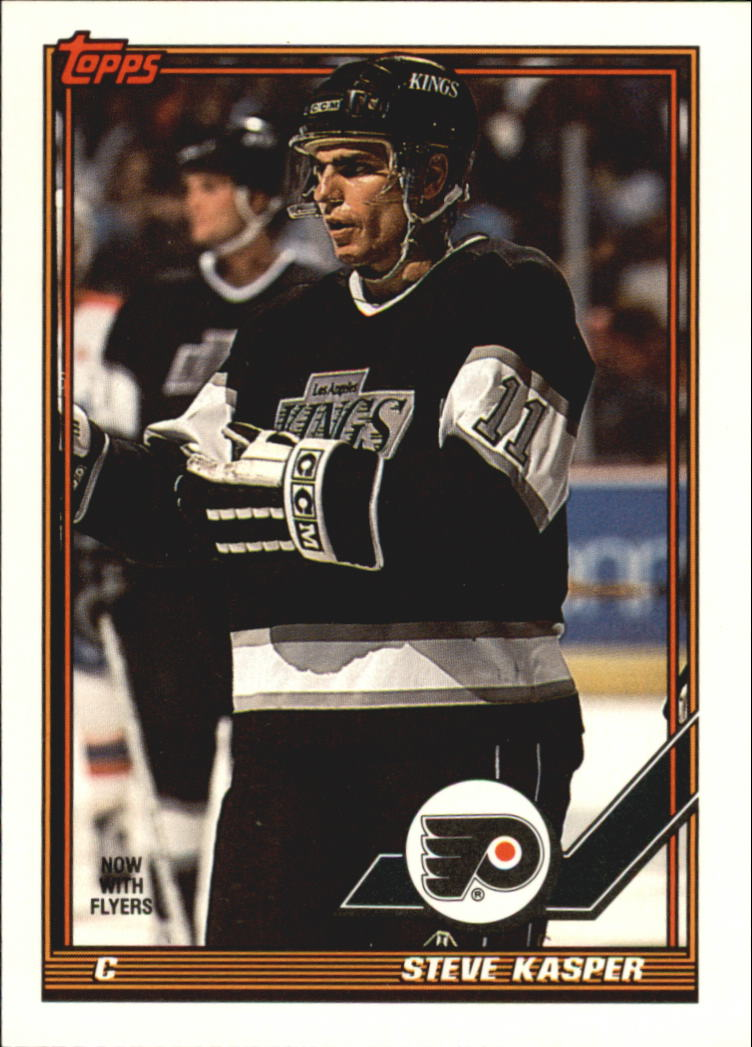 1991-92 Topps #302 Steve Kasper UER/(No italics or diamond 85-86 GP)