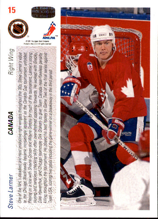 1991-92 Upper Deck #15 Steve Larmer CC back image