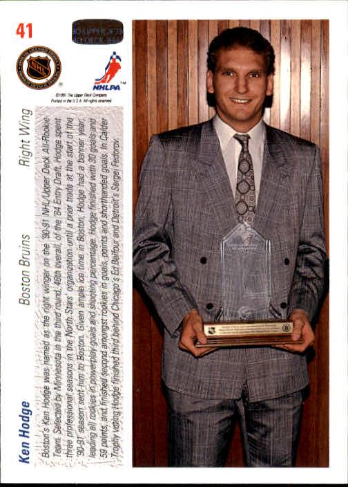 1991-92 Upper Deck #41 Ken Hodge Jr. ART back image