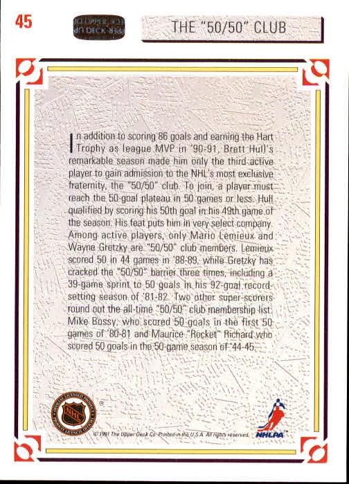 1991-92 Upper Deck #45 The 50/50 Club/Mario Lemieux/Wayne Gretzky/Brett Hull back image