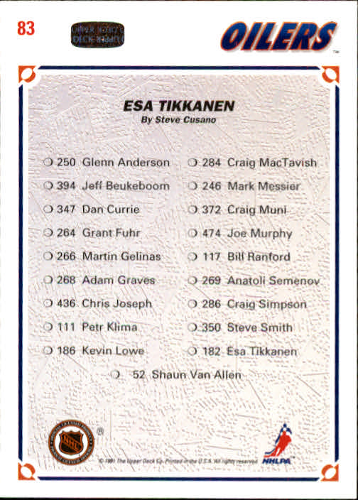 1991-92 Upper Deck #83 Esa Tikkanen/(Edmonton Oilers TC) back image