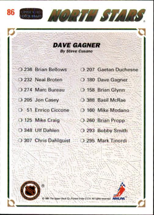 1991-92 Upper Deck #86 Dave Gagner/(Minnesota North Stars TC) back image