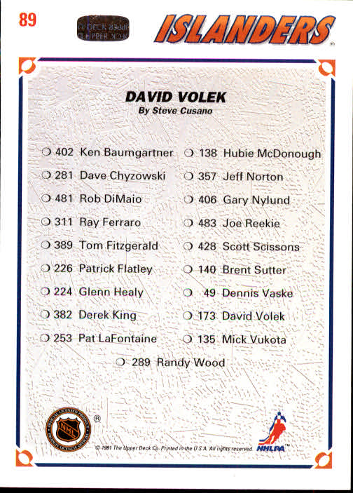 1991-92 Upper Deck #89 David Volek/(New York Islanders TC) back image