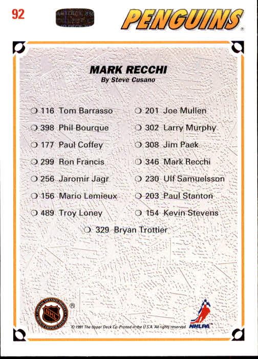 1991-92 Upper Deck #92 Mark Recchi/(Pittsburgh Penguins TC) back image