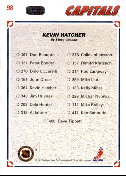 1991-92 Upper Deck #98 Kevin Hatcher/(Washington Capitals TC) back image
