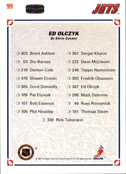 1991-92 Upper Deck #99 Ed Olczyk/(Winnipeg Jets TC) back image