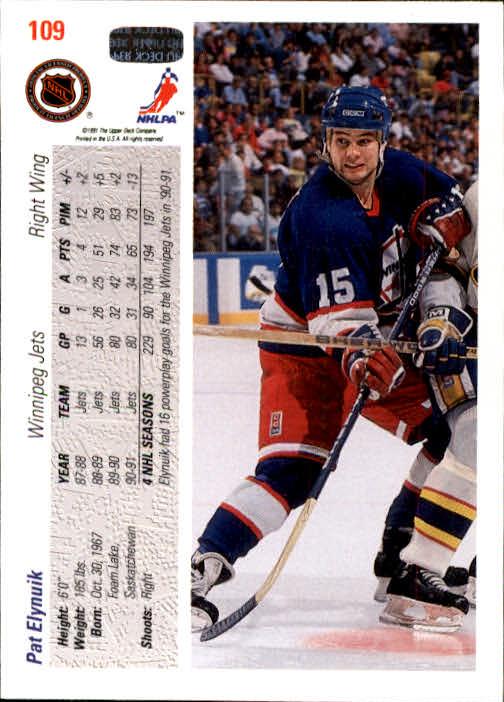 1991-92 Upper Deck #109 Pat Elynuik back image