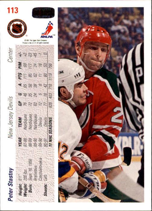 1991-92 Upper Deck #113 Peter Stastny back image