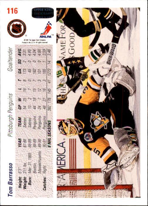 1991-92 Upper Deck #116 Tom Barrasso back image