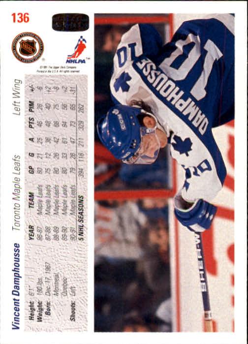 1991-92 Upper Deck #136 Vincent Damphousse back image