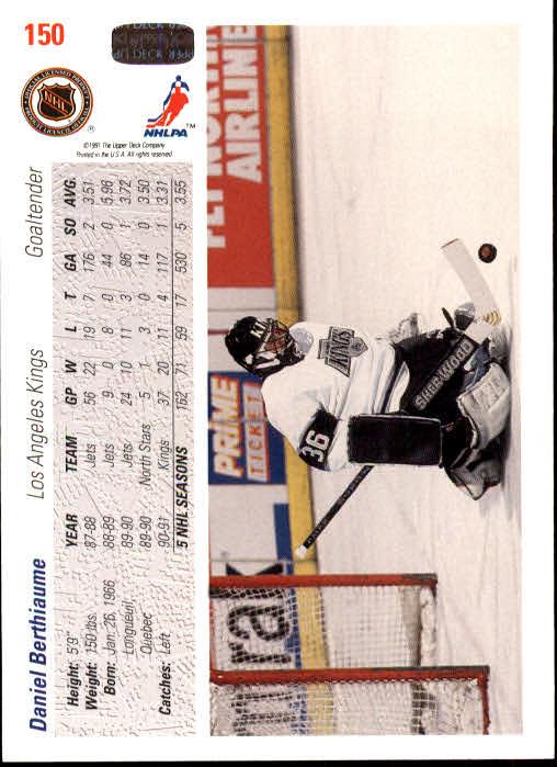 1991-92 Upper Deck #150 Daniel Berthiaume back image