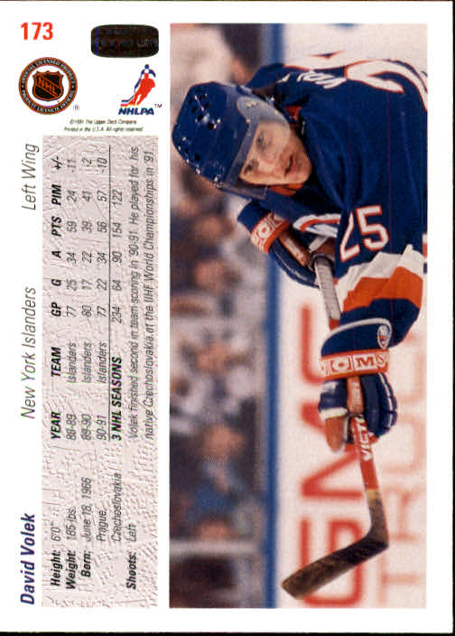 1991-92 Upper Deck #173 David Volek back image