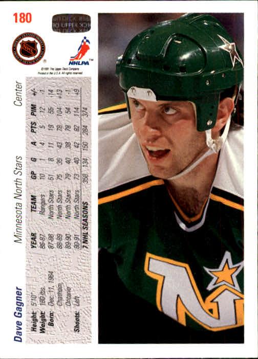 1991-92 Upper Deck #180 Dave Gagner back image