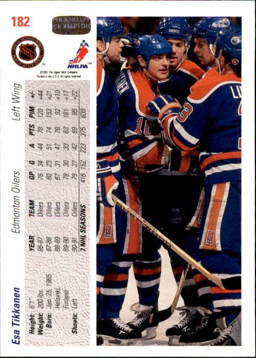 1991-92 Upper Deck #182 Esa Tikkanen back image