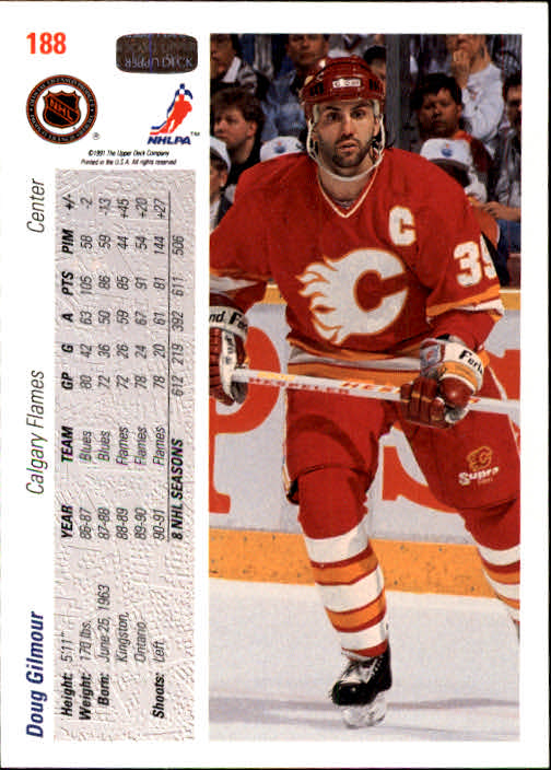 1991-92 Upper Deck #188 Doug Gilmour back image