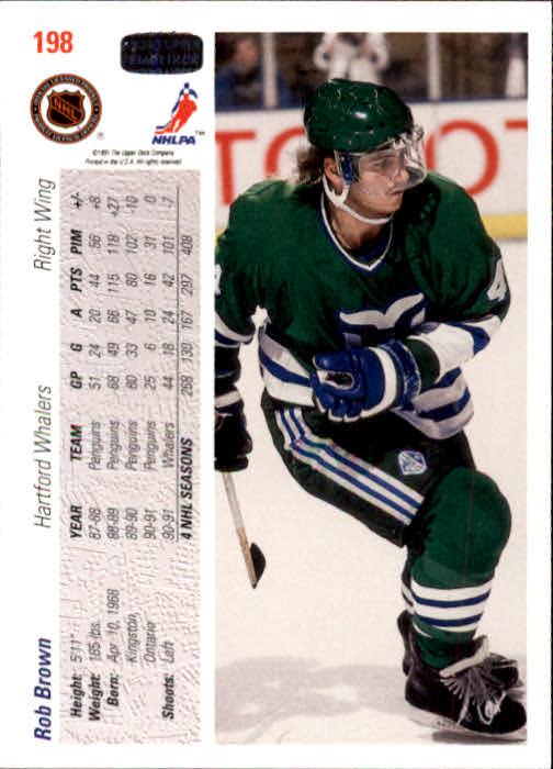 1991-92 Upper Deck #198 Rob Brown back image