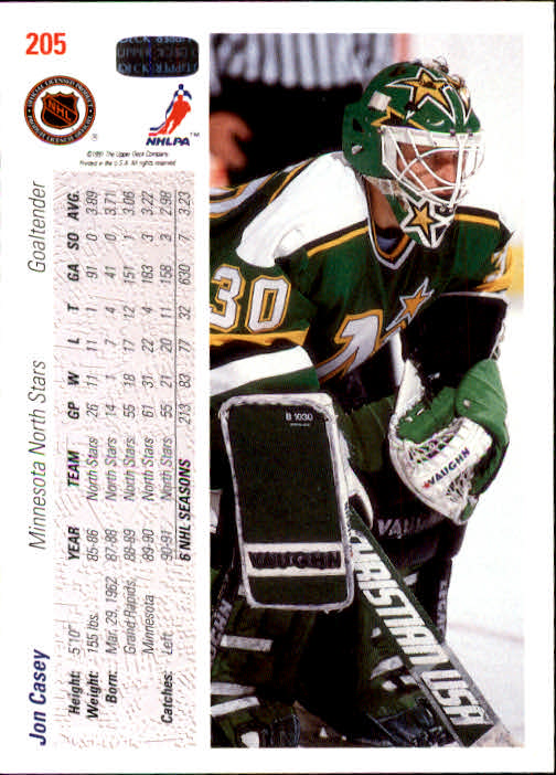 1991-92 Upper Deck #205 Jon Casey back image