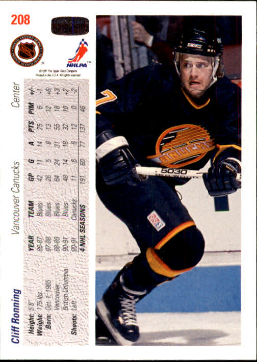 1991-92 Upper Deck #208 Cliff Ronning back image