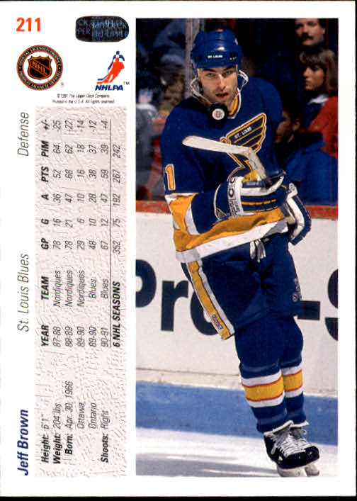 1991-92 Upper Deck #211 Jeff Brown back image