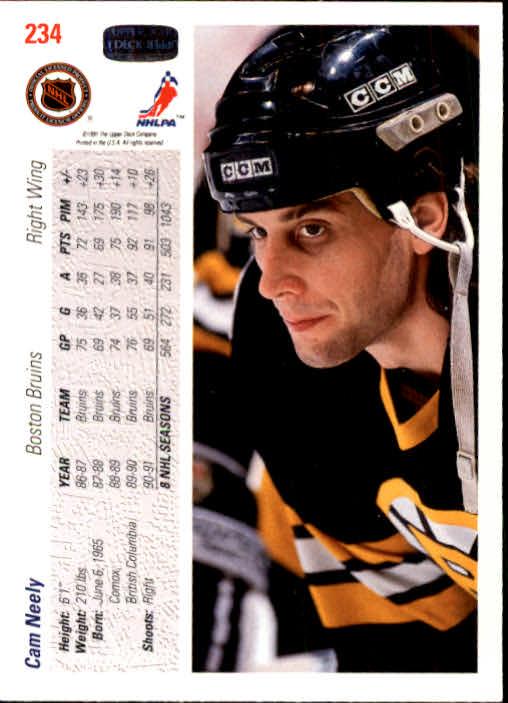 1991-92 Upper Deck #234 Cam Neely back image
