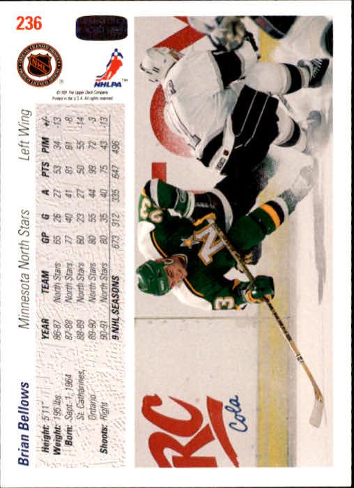 1991-92 Upper Deck #236 Brian Bellows back image