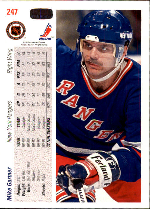 1991-92 Upper Deck #247 Mike Gartner back image