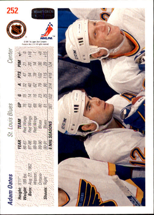 1991-92 Upper Deck #252 Adam Oates back image