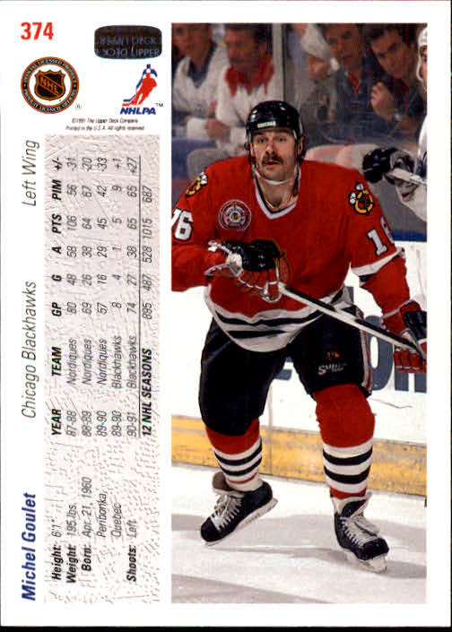 1991-92 Upper Deck #374 Michel Goulet back image