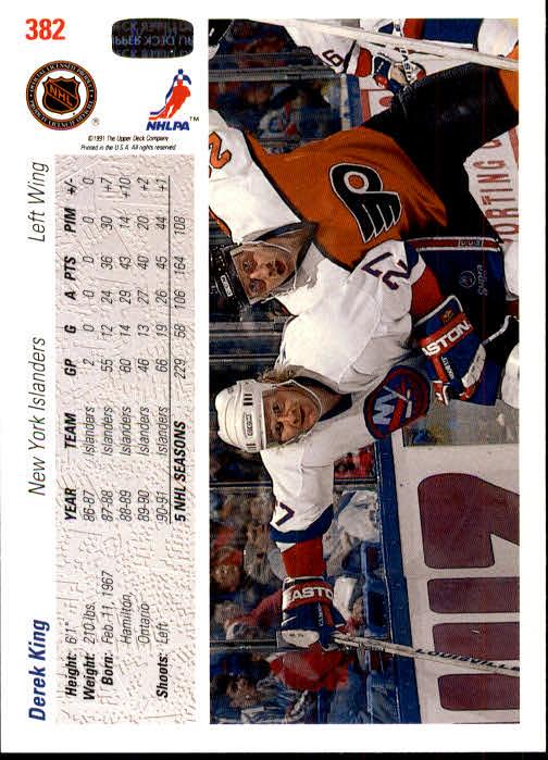 1991-92 Upper Deck #382 Derek King back image