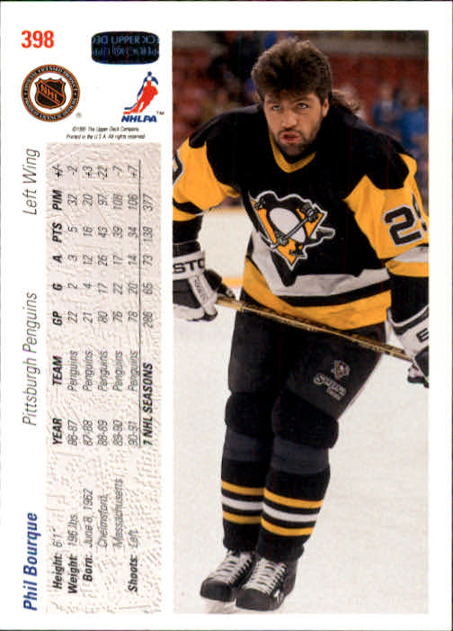 1991-92 Upper Deck #398 Phil Bourque back image