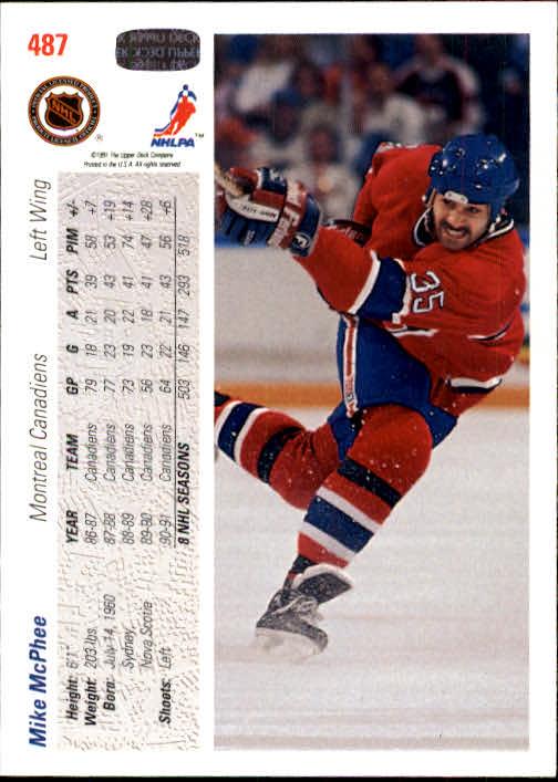 1991-92 Upper Deck #487 Mike McPhee back image