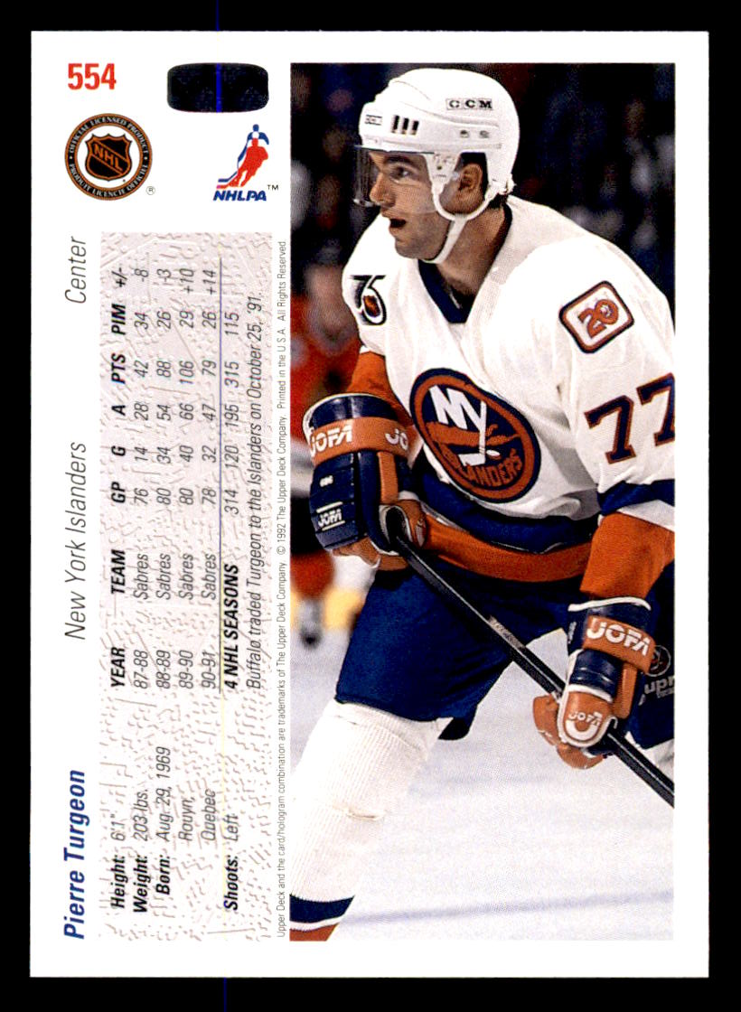 1991-92 Upper Deck #554 Pierre Turgeon back image