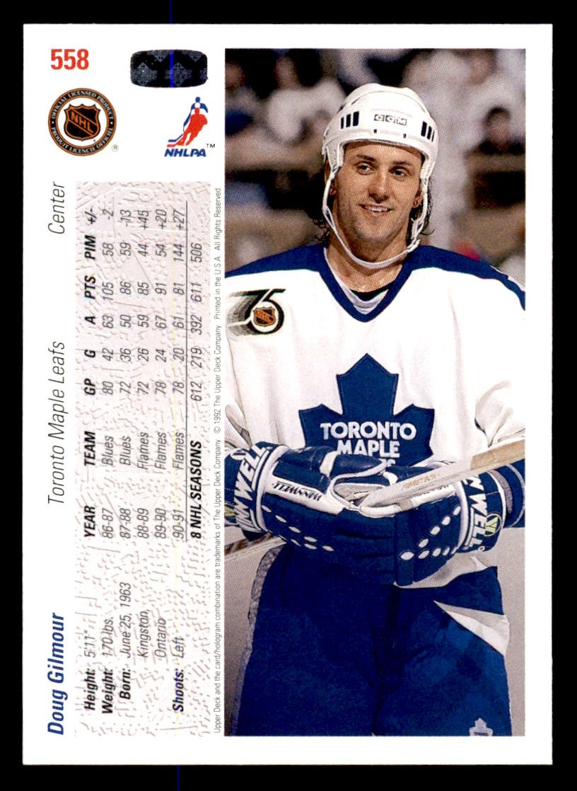 1991-92 Upper Deck #558 Doug Gilmour back image