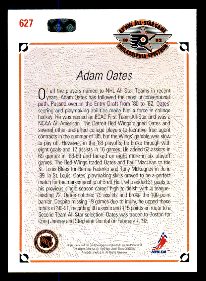 1991-92 Upper Deck #627 Adam Oates AS back image