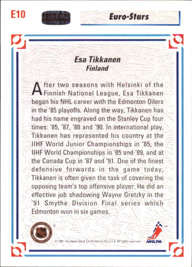 1991-92 Upper Deck Euro-Stars #E10 Esa Tikkanen back image