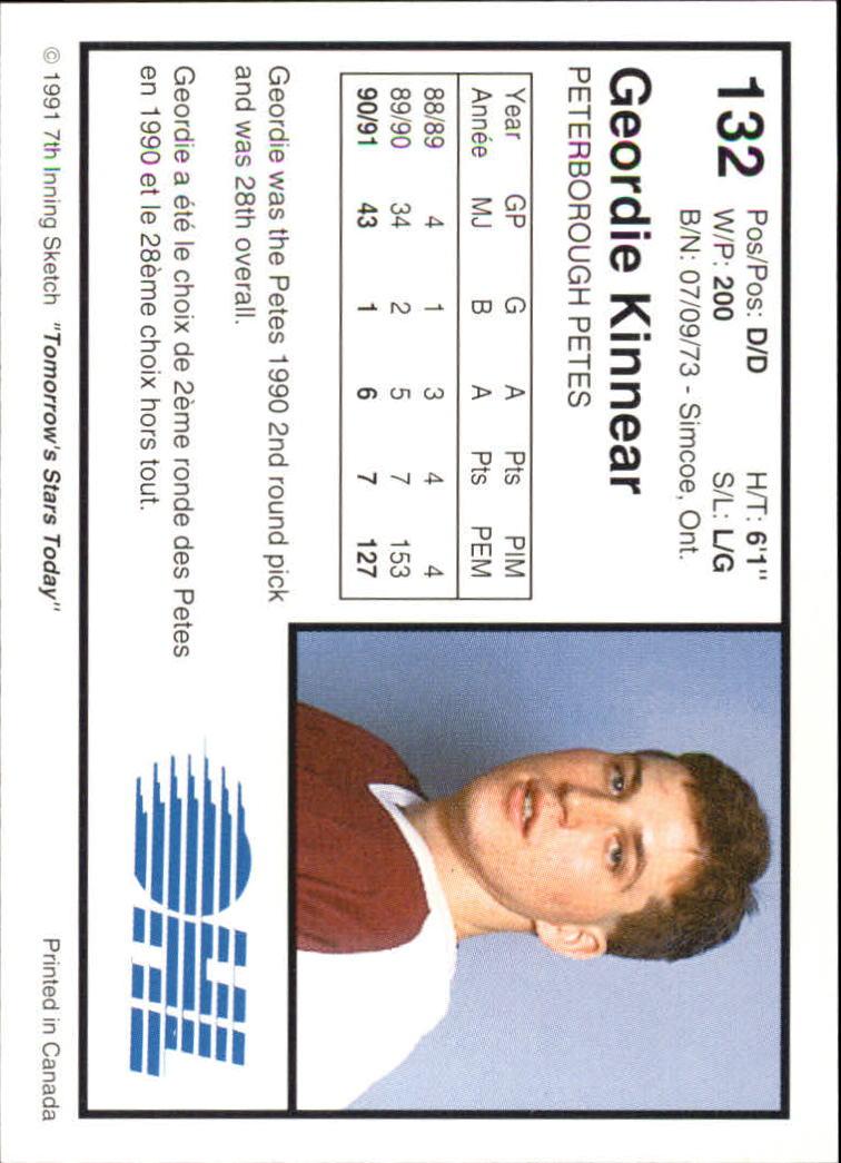 1991-92 7th Inning Sketch OHL #132 Geordie Kinnear back image