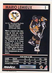 1991-92 Pinnacle French #1 Mario Lemieux back image