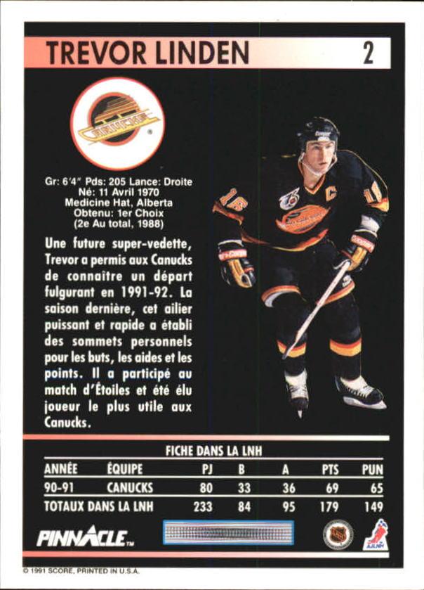 1991-92 Pinnacle French #2 Trevor Linden back image