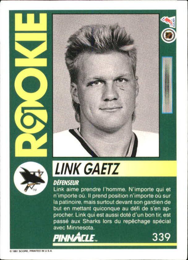 1991-92 Pinnacle French #339 Link Gaetz back image