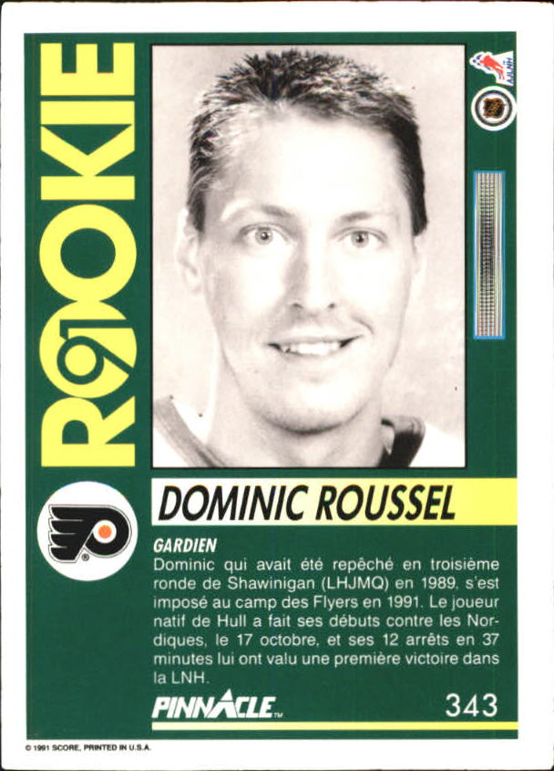 1991-92 Pinnacle French #343 Dominic Roussel RC back image