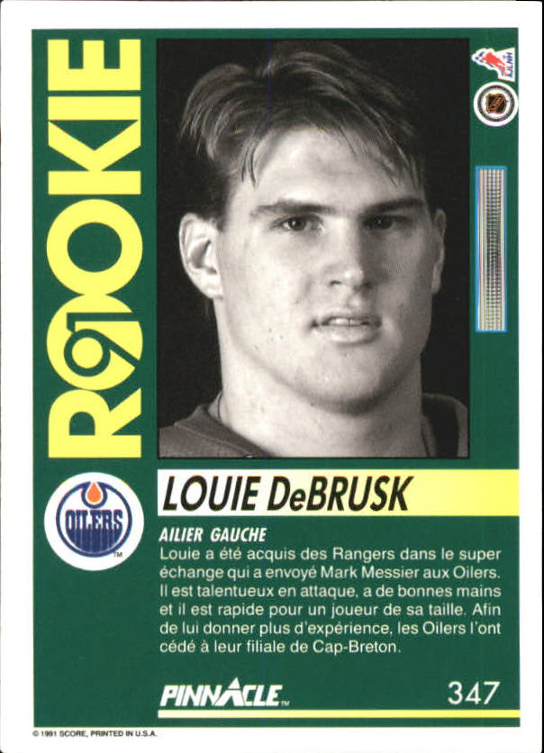 1991-92 Pinnacle French #347 Louie DeBrusk back image