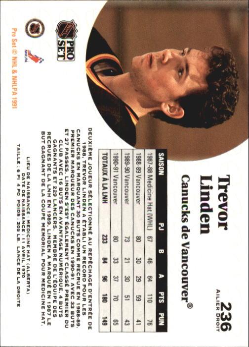 1991-92 Pro Set French #236 Trevor Linden back image
