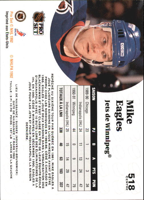 1991-92 Pro Set French #518 Mike Eagles back image
