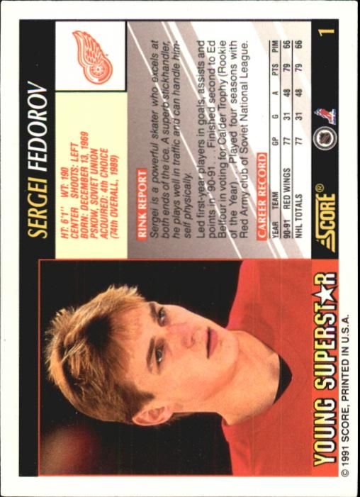 1991-92 Score Young Superstars #1 Sergei Fedorov back image